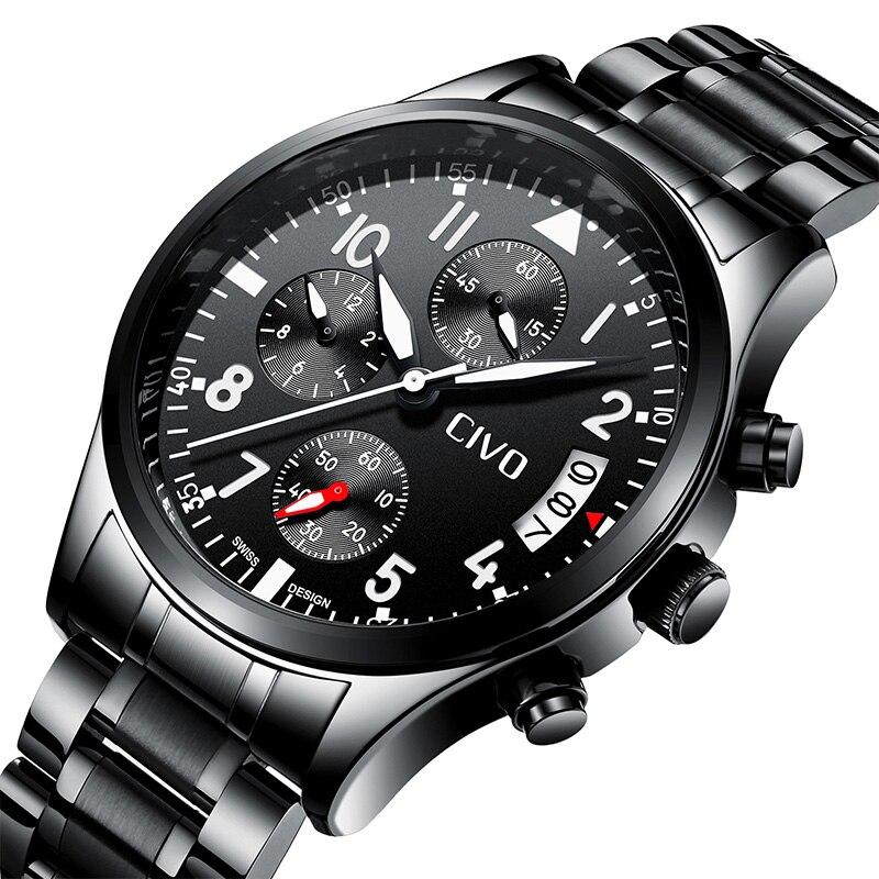 2f2572e55e9a CIVO reloj Casual para hombres impermeable relojes de lujo negro militar  banda de acero Deporte hombre Fecha de pulsera reloj de cuarzo hombre