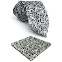 Silver Grey Paisley Silk Men Neckties Set Fashion Wedding Designer Dress Pocket Square X-long