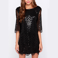 U SWEAR Sexy Women Loose Summer Sequins Dress 2019 Black Gold dress High Street Mini Luxury Nightclub Party Dresses Vestidos