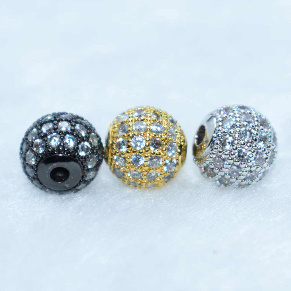 8mm Zircon Gemstones Pave Round Ball Bracelet Connector Charm Beads For Diy Craft Supplies