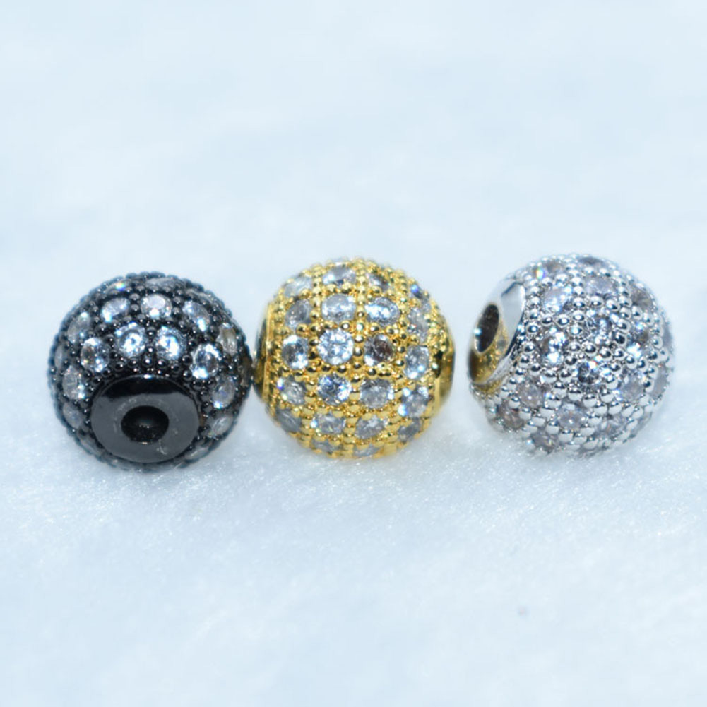 8mm Zircon Gemstones Pave Round Ball Bracelet Connector Charm Beads For Diy Craft Supplies