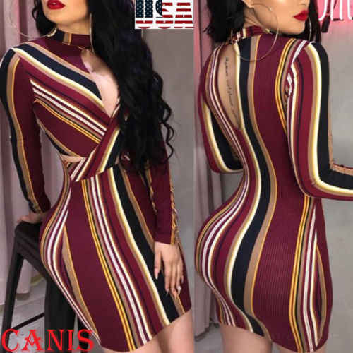 2019 Womens Stripe O-Neck Long Sleeve Bodycon Evening Party Backless Sexy  Short Mini Dress Mix Color Striped Dress