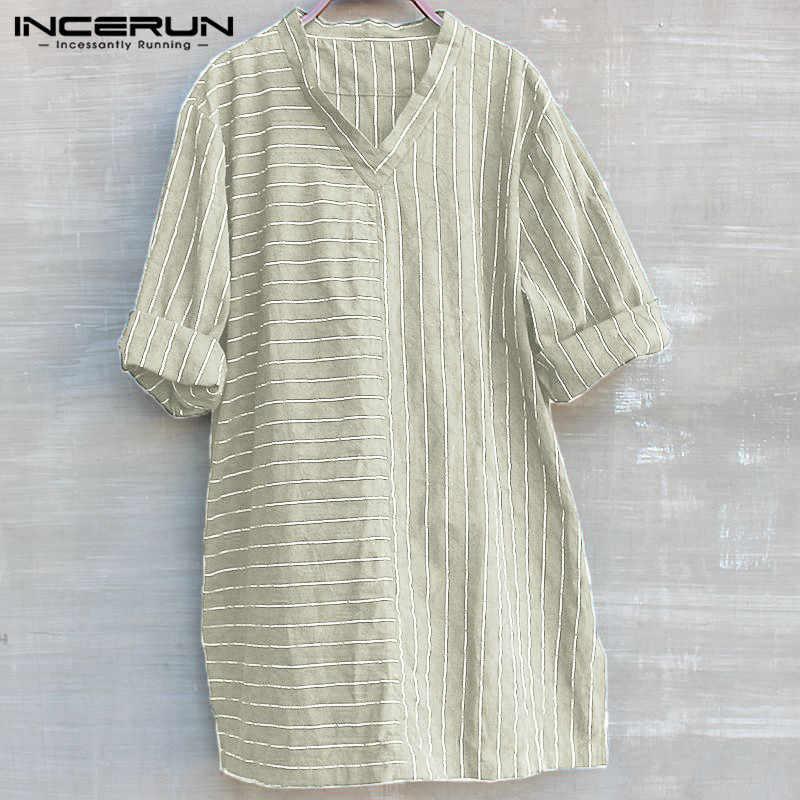 6128c3be99a Boho мужские рубашки хлопок длинные рубашки китайский Тан костюм V шеи 3 4  рукав полосатый