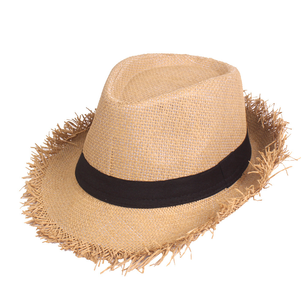 Sun Hat Summer Solid Color Fashion Summer Travel Topee Round Holiday Sun Hat Beach Cowboy Hat Straw Braided Sunhat For Men