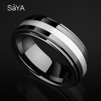 2019 New Arrival 8mm Width Black Tech Ceramic Wedding Rings Band High Polished Inlay 925 Silver Center Beveled Edges Size 8.5 11