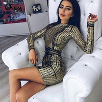 Autumn Winter Sexy Striped Mesh Sequin Dress For Women Long Sleeve Club Party Dresses with Belt Vestidos Sukienka