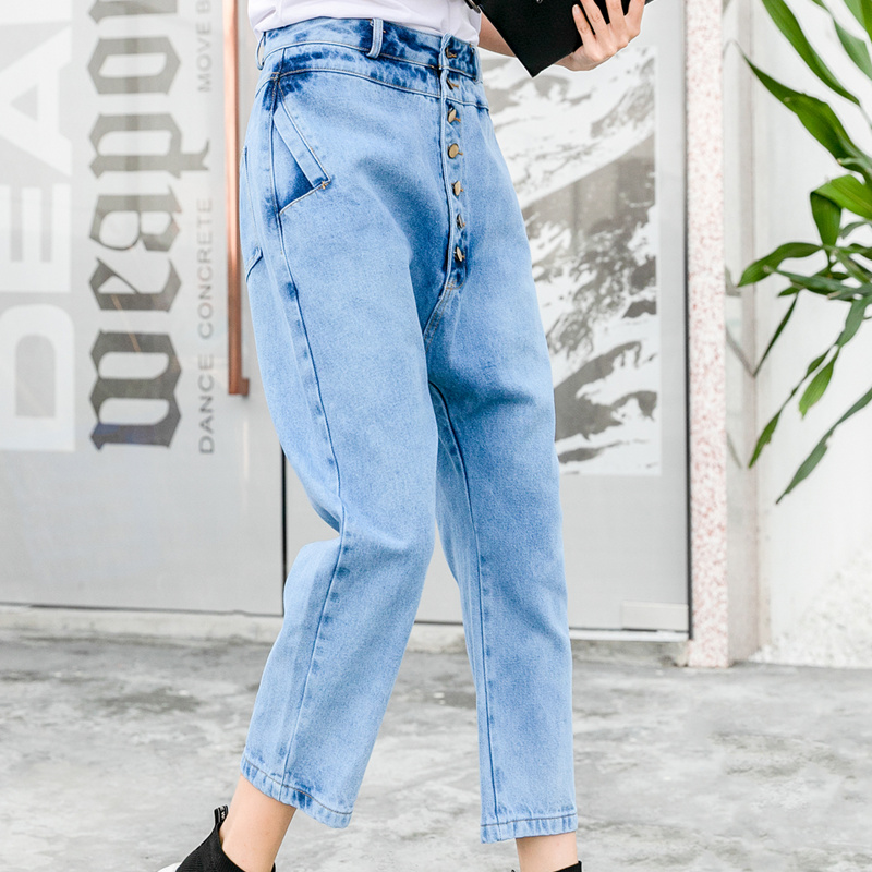 Plus Size Jeans Women Harem Pants 2019 England Style Individuality Single Breasted Vintage High Wasit Jeans Denim Cropped Pants