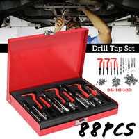 88Pcs M6+M8+M10 HSS Drill Tap Set Auto Engine Block Restoring Damaged Thread Repair Tool Hand Tool Kit Set