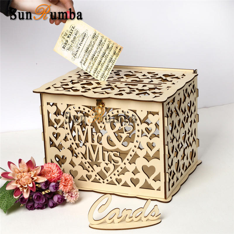 Trkee DIY Wooden Wedding Card Box with Lock and Slot for Rustic Wedding Decoration