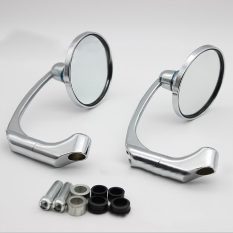 2xMotorcycle Chrome Round Bar End Rearview Side Mirror Adjustable For Cafe Racer2xMotorcycle Chrome Round Bar End Rearview Side Mirror Adjustable For Cafe Racer