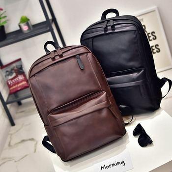 Mochila de piel sintética para hombre y mujer, mochila para ordenador portátil, mochila Bolsa de viaje de ocio de gran capacidad, mochila escolar Preppy