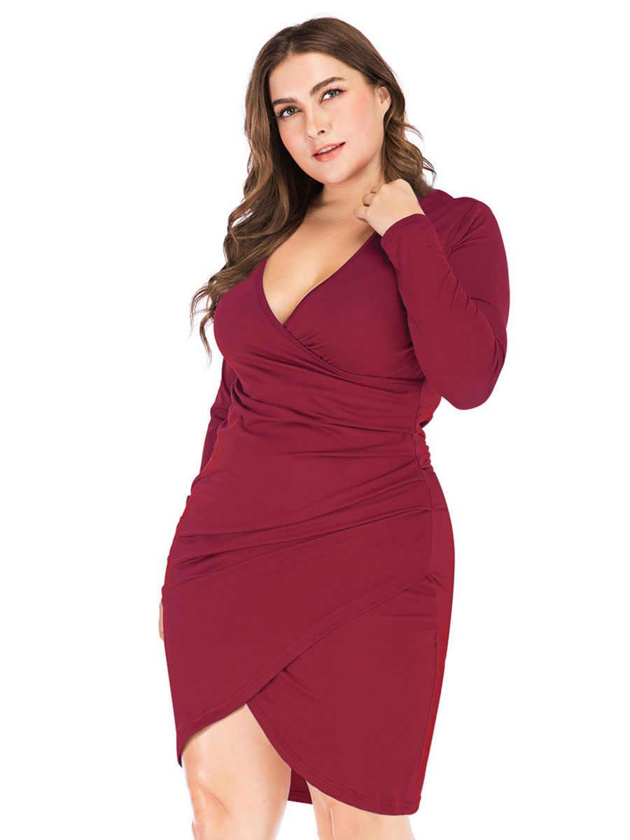 Новое платье длиной до колена для женщин, сексуальное, плюс размер, длинный рукав, v-образный вырез, элегантная однотонная цветная намотка облегающие платья Vestido