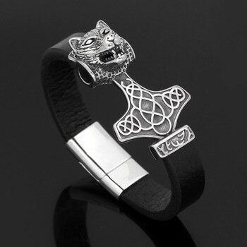 Nordic Viking Stainless Steel Odin Wolf Head Bracelet  Viking Bracelet