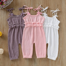 Baby Girl Jumpsuit Sleeveless Strap Solid Romper Ruffled Bowknot High Waist Trousers Sunsuit Outfits New