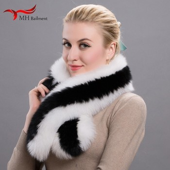 Winter 100% Real Natural Fur Collar Womens Scarfs Fashion Coat Sweater Scarves Collar Luxury Fox Fur Neck Cap image