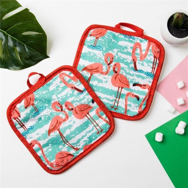 Кух. Set of 2 PR. Доляна Flamingo Col. green, potholder 16*16 cm-2 pcs, 100% N/e 3840631 crocodile shaped eraser green grey 2 pcs
