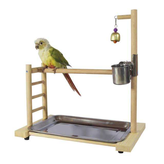 Birdcage Stands Parrot Play Gym Wood Conure Playground Bird Cage Stands Accessories Birdhouse Decor Table Top PlayStand 3