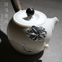 Japanese white jade porcelain pot pottery household tea set wood handle teapot handmade silver inlaid one pot and two cups