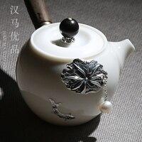 Japonês porcelana jade branco pote de cerâmica conjunto de chá casa de madeira lidar com bule artesanal prata incrustada um pote e dois copos|Jogos de chá| |  -