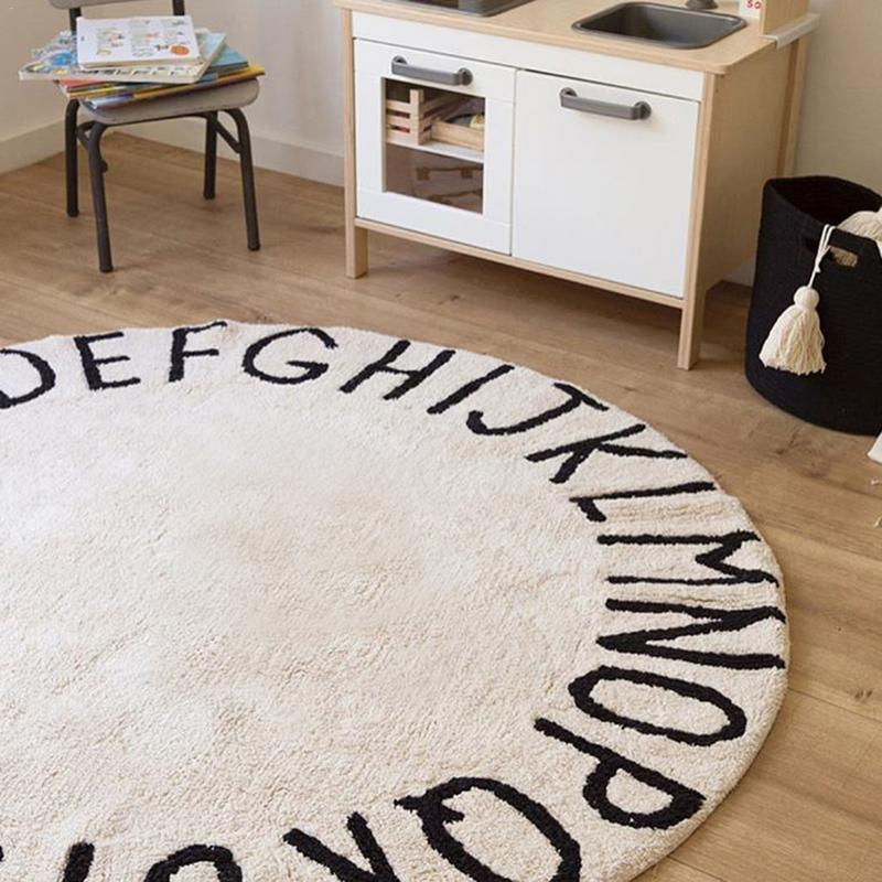 INS High Quality 100% Cotton White Round ABC Alphabet Kids Crawling Play Mat Super Soft Knitting Educational Washable Area Rugs