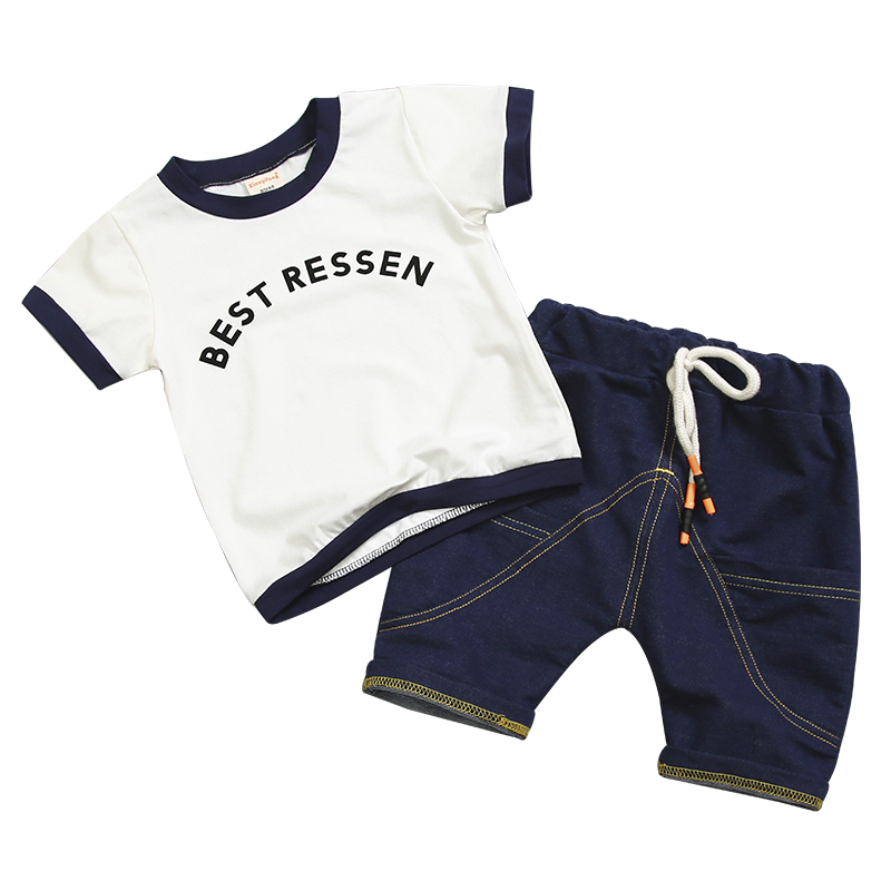 2019 New Fashion Summer Children Boy Girl Clothes Sets Kids 2pcs Cotton Letter Short Sleeves T Shirt Toddler Child Clothing Suit in Clothing Sets from Mother Kids