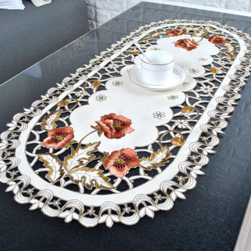 Vintage Embroidered Fabric Rectangular Tablecloth For Wedding Party Event Banquet Home Decoration Supply Christmas Table Cover