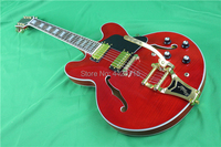 Gleeson studio double sides flamed maple top and back,transparent red color,bigsby tremolo bridge,semi hollow guitar