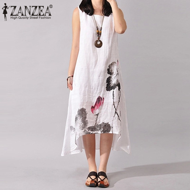 ZANZEA Linen Dress Women Summer Dresses Sleeveless Ink Painting Cotton Vestidos Ladies Mid Calf Vestido Womens Plus Size Dresses 3