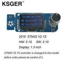 KSGER V2.1S الكهربائية لحام الحديد T12 STM32 OLED 1.3 حجم جهاز تحكم بالشاشة 9501 لحام مقبض DIY أطقم ل Hakko T12 تلميح
