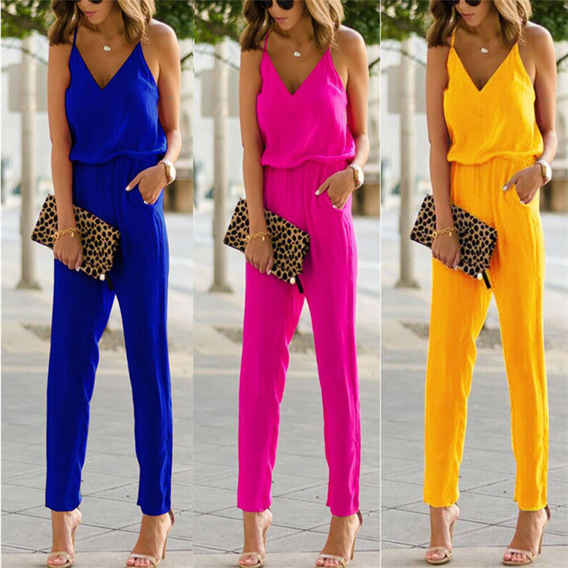 Women Summer Ladies V Neck Spaghetti Strap Sleeveless   Jumpsuits   Cotton Linen Bodycon Long Pants Romper Trousers Club Fashion