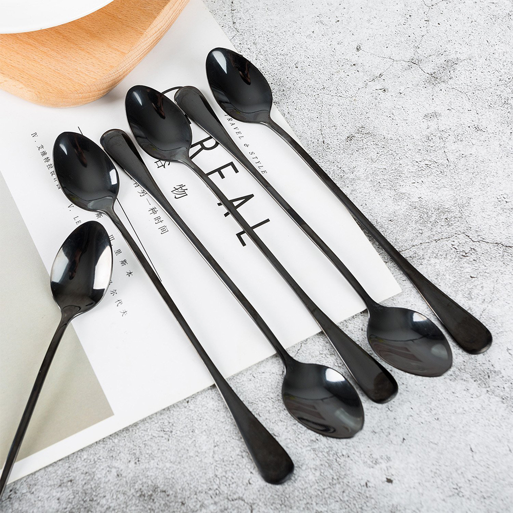 CHESEY Long Espresso Spoons Set Stainless Steel Round Coffee Spoon 6 Piece