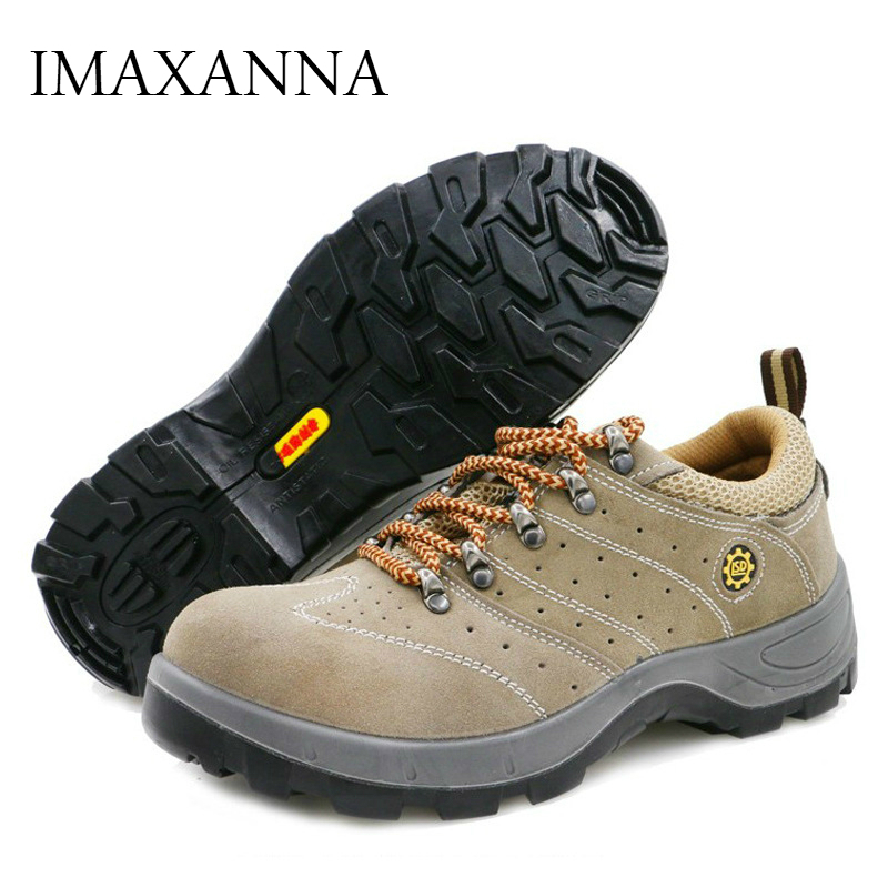 IMAXANNA Men's Breathable Steel Toe Safety Shoes Men Outdoor Anti-slip Steel Puncture Proof Construction Safety Boots Work Shoes