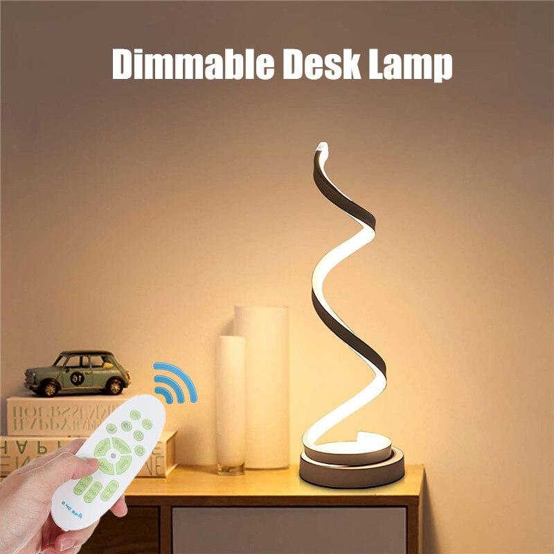 LED lampe de Table spirale moderne courbé bureau lampe de chevet Dimmable blanc/blanc chaud/Nature lumière blanche pour salon chambre