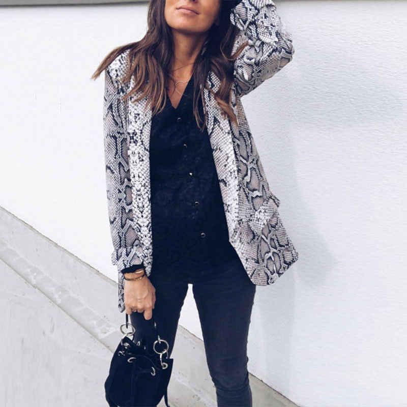 MeiHuiDa 2018 新スタイルのファッションホット女性のスネークプリントブレザースーツ長袖の女性のコートは生き抜く