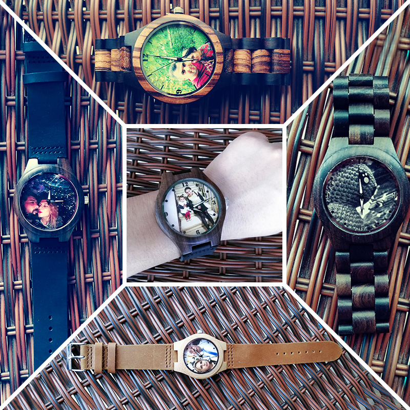 Family Lover Personality Custom Engraving Watch Photos UV Printing Bamboo Wooden Watches Presents For Men Unique Gift Dropshippi in Quartz Watches from Watches