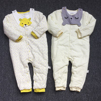 Autumn & Winter Newborn Infant Baby Thickening Cotton Clothes Animals Style Clothing Romper Baby Clothes Cotton padded Overalls