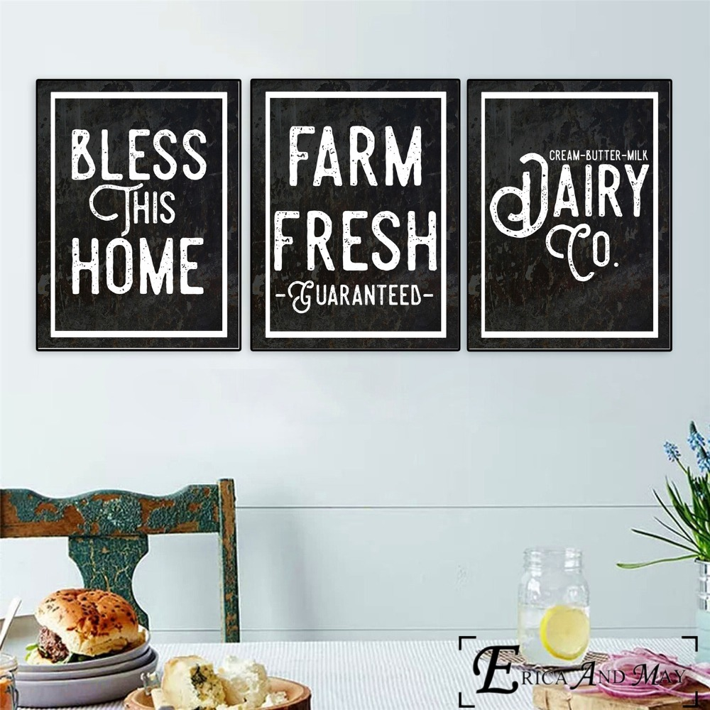 US $3.49 53% OFF|Kitchen Farmhouse Printables Quote Canvas Painting Posters  And Prints For Living Room No Framed Wall Art Picture Home Decor-in ...