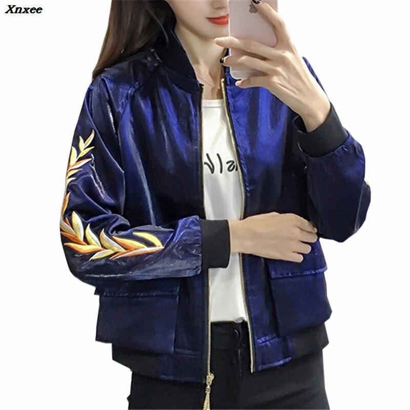 2018 Ladies Bomber Jackets Fashion and Retro Baseball Coat For Women Students Pocket Embroidery Feminina Basic Jacket Outwear