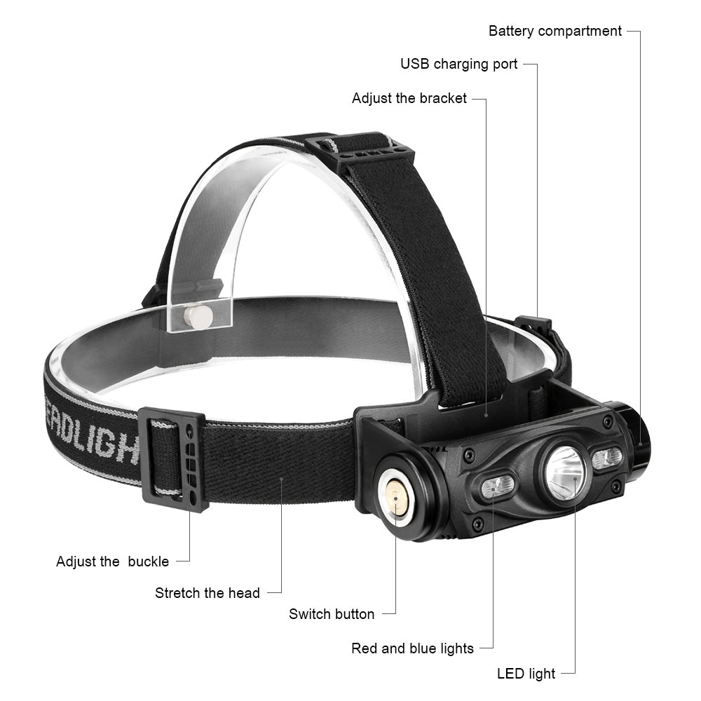 Image 2 - 3 LEDs Headlamp XML L2 Blue Red Headlight USB Charging Head Lamp Waterproof 18650 Torch Flashlight Portable Lantern For FishingHeadlamps   -