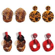 Женские акриловые леопардовые серьги-подвески JUST FEEL, большие круглые массивные Винтажные серьги из смолы, модные ювелирные украшения