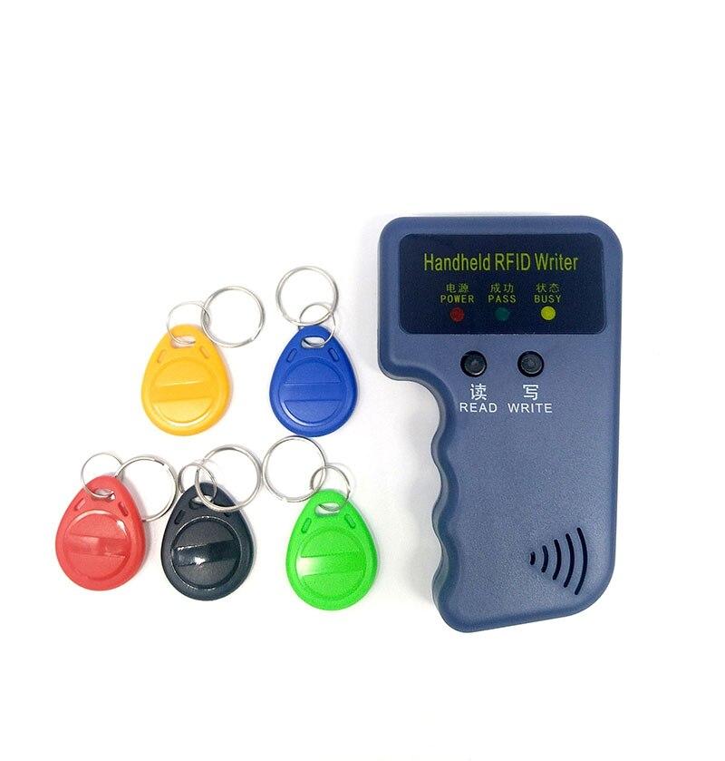 Lector de tarjetas RFID de mano de 125Khz, copiadora, grabadora, duplicadora, programador, copia de tarjeta de identificación + 5 uds EM4305, cada una con etiquetas grabables Lector de fotocopiadora de tarjetas RFID NFC, duplicador inglés, programador de frecuencia 10 para tarjetas de ID IC y todas las tarjetas 125kHz + 5 uds. ID 125k