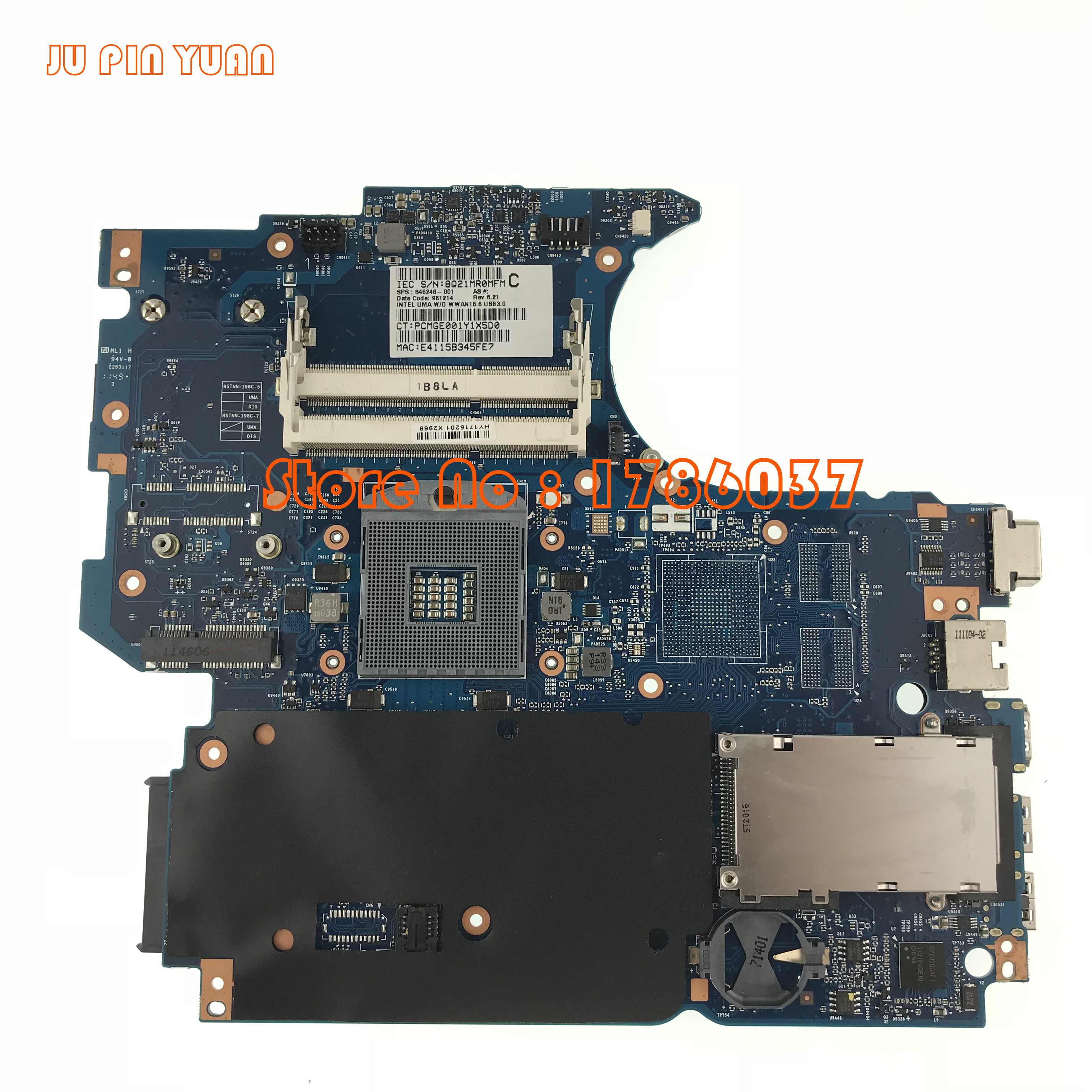 JU PIN YUAN 646246 001 Mainboard for HP 4530S 4730S Laptop motherboard HM65 All functions fully
