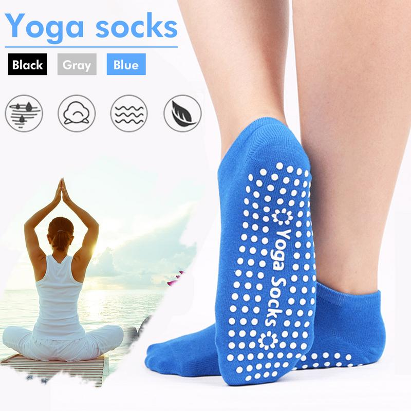 Women Sports Colorful Yoga Socks Hot Fitness And Pilates Cotton Socks Rainbow Workout Anti Slip Toe Socks Breathable Blue
