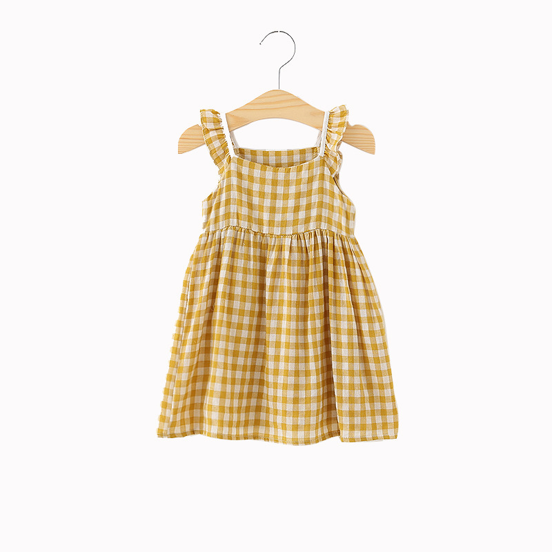 Summer Girls Dress 100% Cotton Toodler Girls Plaid Cotton Dress Suit For1 To 5 Years Old Girls