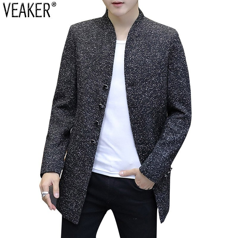 2018 Autumn New Men's Slim Fit Long   trench   Jackets Outerwear Male Solid Color Windbreaker Jackets   trench   Coat M-3XL