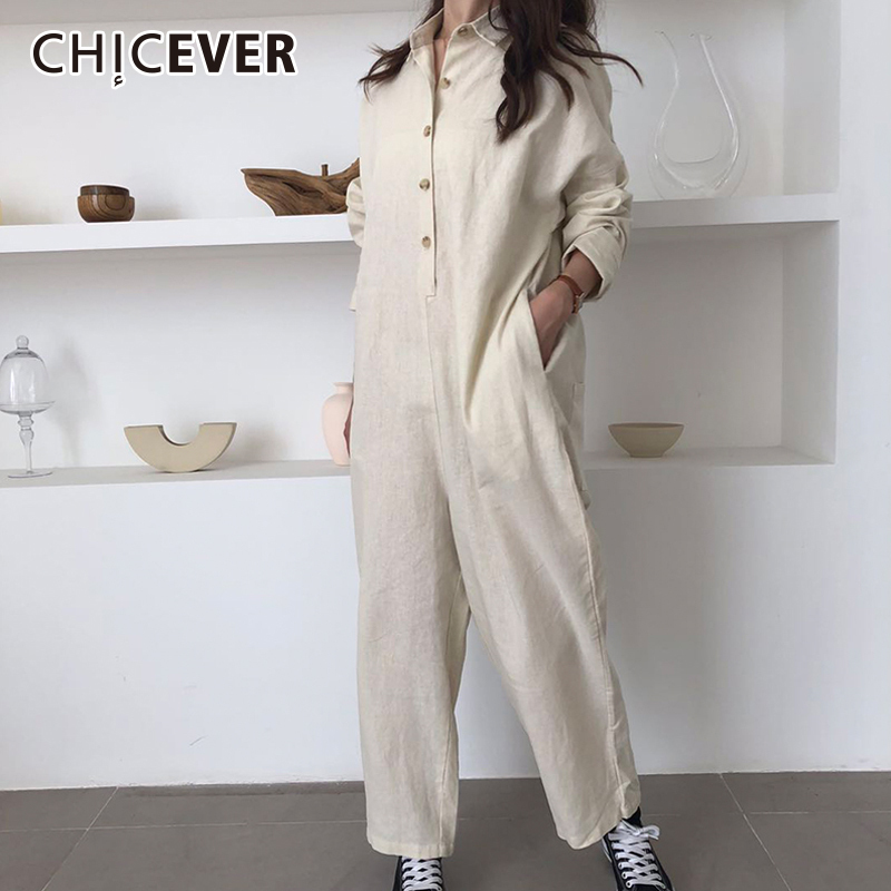 CHICEVER Autumn Jumpsuit For Women Lapel Long Sleeve Casual Loose Wide Leg Jumpsuits Female Fashion Clothing