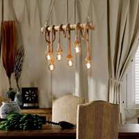 Country Retro Bamboo Hemp Rope Pendant Lights 6 Head E27 Bulb Hanging Lamp Rope Lamp For Bedroom Dining Room Cafe Hang Lamp