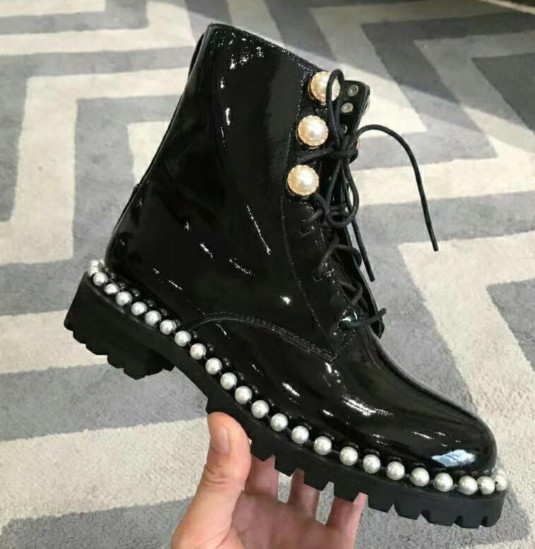 Dipsloot femme nouvelle marque Designer talons chaussures dame bout rond perle embelli à lacets bottines filles chaussures en cuir verni