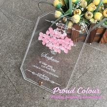 PROUD 10 шт в партии цветная печать на заказ двойное стекло Прозрачная Акриловая Карта Evergreen свадебные приглашения