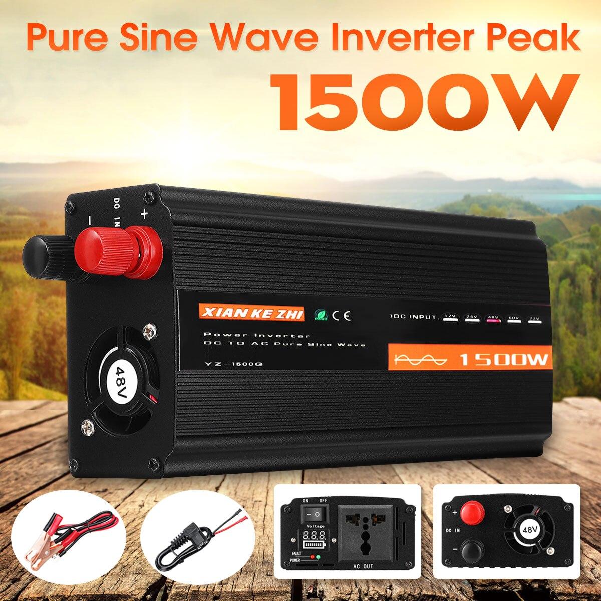 Onduleur à onde sinusoïdale Pure 1500 W DC12V/24 V/48 V à AC220V 50 HZ Booster de convertisseur de puissance pour onduleur de voiture bricolage domestique